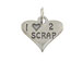 Sterling Silver Heart with I Love 2 Scrap Charm with Jumpring