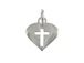 Sterling Silver Heart with Cut out Cross Charm with Jumpring