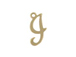 14K Gold Filled 11mm Alphabet Cursive Script Charm -  I