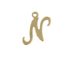 14K Gold Filled 11mm Alphabet Cursive Script Charm -  N