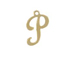 14K Gold Filled 11mm Alphabet Cursive Script Charm -  P