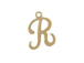 14K Gold Filled 11mm Alphabet Cursive Script Charm -  R