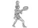 Sterling Silver Female Tennis Player Charm