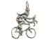 Sterling Silver Bike Rider Female Charm with Jumpring