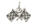 Sterling Silver Checkered Flags Charm with Jumpring