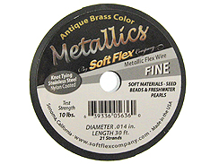 30 Feet - Soft Flex .014 inch FINE 21 Strand Wire  Antique Brass