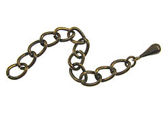 2.25 Inch, Antique Brass Plated Extender Chain with Drop