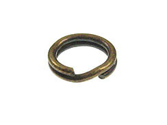 6mm Round Antique Brass Plated Base Metal Split Ring