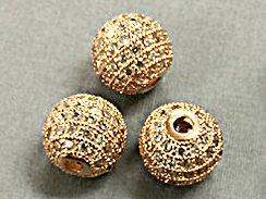 8mm Micro Pave Set CZ Bead, Rose Gold Finish