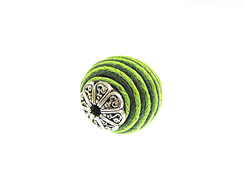 22mm Round Fabric Beads - Lime Green