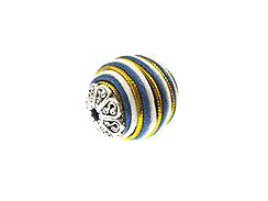 22mm Round Fabric Beads - White, Blue, & Gold