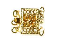 10.5mm Gold Filled Rectangle 3-Strand Filigree Clasp