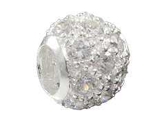 Sterling Silver 10mm Round CZ Bead with Fine Silver Plating and