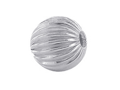 Sterling Silver Straight Corrugated 7mm Round Bead