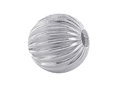 10  Sterling Silver Straight Corrugated 8mm Round Beads