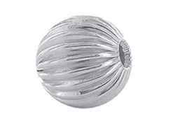 10  Sterling Silver Straight Corrugated 10mm Round Beads
