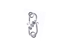 Bali Sterling Silver S Hook Clasp with 3 Hearts