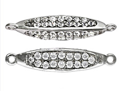 Sterling Silver 3 Sided Connector Link with Pave set CZ