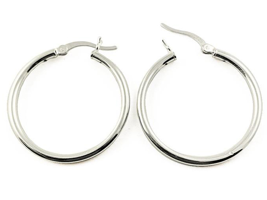 20mm .925 Sterling Silver Hoop Earring Pair with Click, 2mm Tube