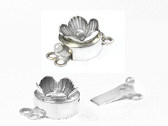 Sterling Silver Round 2-Strand 3D Flower Box Clasp *Bulk Pack of 25*