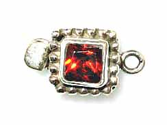 Sterling Silver Square -Strand Box Clasp With Garnet Zircon