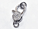CZ Pave Clasp 16mm Lobster Claw Clasp, Rhodium Silver Finish