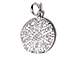 CZ Pave Pendant 18mm Disc  Pendant, Rhodium Silver Finish