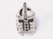 CZ Pave Bead, Knight, Rhodium Finish 15mm x 11mm