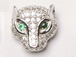 CZ Pave Bead, Panther, Rhodium Finish 9mm x 9mm x 4mm