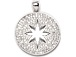 CZ Pave Pendant 25mm Cut Out Star Disc Pendant, Rhodium Silver Finish