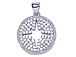 CZ Pave Pendant 18mm Cut Out Star Disc Pendant, Rhodium Silver Finish