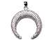 CZ Pave Pendant 27mm x 29mm Moon Pendant, Rhodium Silver Finish
