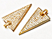CZ Pave Pendant Triangle Pendant, Gold Finish 38mm x 18mm