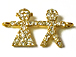 Micro Rhinestone Pave Set 20mm Pave Boy Girl Bling Connector Charms, Gold Plated