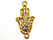 Micro Rhinestone Crystal Pave Set Hamsa 26mm Pave Hand of Fatima with Evil Eye Bling Connector Charms, Gold Plated