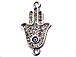 Micro Rhinestone Crystal Pave Set Hamsa 26mm Pave Hand of Fatima with Evil Eye Bling Connector Charms, Silver Plated
