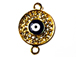 Micro Rhinestone Crystal Pave Set Hamsa 21mm Pave Disc with Evil Eye Bling Connector Charms, Gold Plated