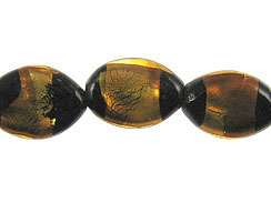 Flat 18.5mm Marquise Shaped Foiled Glass Bead Strand - Black