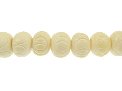 White Carved Round Bone Bead Strand