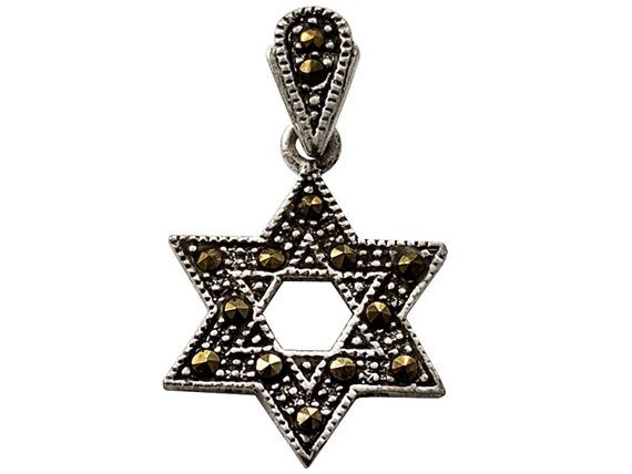 "Sterling Silver Marcasite ""Star of David"" Pendant"