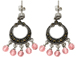 Sterling Silver Marcasite Earrings Pair with Pink Beads