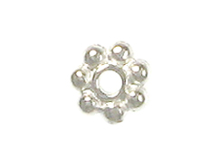 100 - TierraCast Bright Silver Plated 4mm Beaded Daisy Heishi Spacer Bead