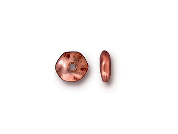 BEAD-Round Hammered Edge Spacer, 6 X 2.6mm (Antique Copper Plate