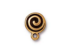 10 - TierraCast Pewter EARRING Spiral Post earring Component Antique Gold Plated