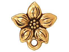 10 - TierraCast Pewter EARRING Star Jasmine Post Earring Component, Antique Gold Plated