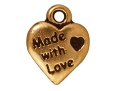 20 - TierraCast Pewter CHARM Made with Love Heart, Antique Gold Plated