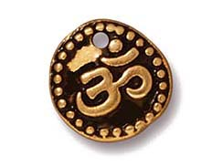 20 - TierraCast Pewter DROP Aum Ohm Om Antique Gold Plated