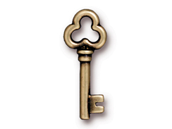 10 - TierraCast 22mm Pewter Charm Key Oxidized Brass Plated