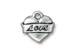 10 - TierraCast Pewter Charm Love Tattoo Heart Antique Silver Plated
