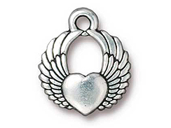 10 - TierraCast Pewter DROP Winged Heart, Antique Silver Plated